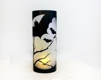 Halloween Luminaries set of 10, halloween table decor, halloween decorations, halloween luminary, halloween candles, candle wraps, haunted