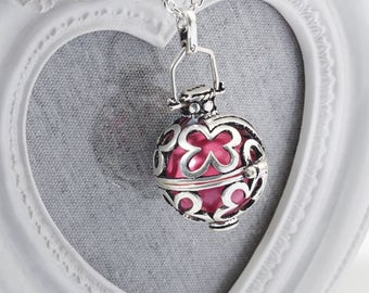 Harmony Cage FLEUR with Pink Bola Ball Pendant & Necklace - Pregnancy Maternity Mexican Angel Caller Mum to Be