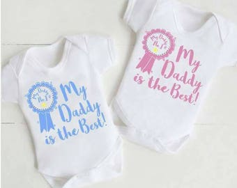 Fathers day gift , my daddy is the best , personalised baby vest