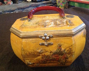Beautifully crafted & decorated  vintage decoupage wooden purse