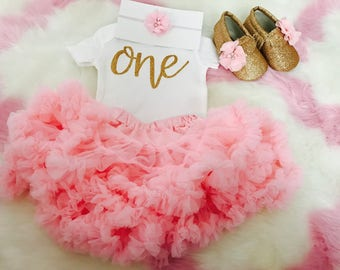 1st Birthday Girl Outfit   Baby girl first birthday outfit / First birthday outfit / Girls birthday outfit / Pink and gold