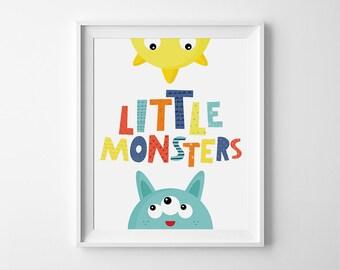 Playroom wall art, Baby nursery art, Children's wall art, digital download, wall decor, printable quote, kids room decor, Little Monster