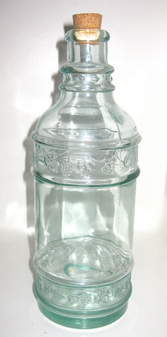 Vintage Spanish Glass Bottles Made from Antique Molds With