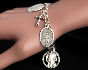 San Pancracio Bracelet. Catholic Bracelet. Saint Pancras Charm Bracelet. Catholic Jewelry. Religious Jewelry. Handmade Jewelry.