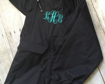 Free Shipping! Monogrammed Pullover Rain Jacket, Monogram Charles River Quarter Zip Pullover Rain Jacket,Women's Monogrammed Pullover Jacket