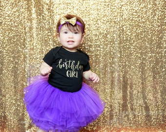 Birthday Girl Outfit, Purple Gold Girl First Birthday Outfit, Birthday Shirt, Purple Birthday Tutu, Cake Smash Outfit
