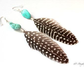 Long Feather Earrings // Guinea Feather Earrings // Turquoise Feather Earrings // Spotted Guinea and Turquoise Earrings //
