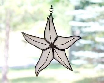 Stained Glass Starfish Suncatcher, White Iridescent, Beach Decor, Glass Art, Mermaid Gift, Gifts for Her