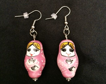 Pink Matryoshka Russian Stacking Doll Porcelain Doll Earrings