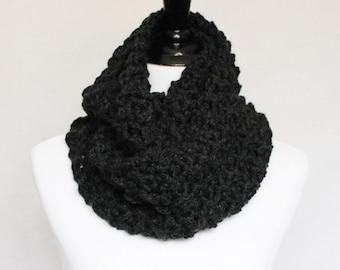 Gray Infinity Scarf, Chunky Cowl, Crochet Neck Warmer - Dark Gray, Charcoal Gray, Moss Stitch