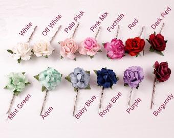 Pretty Mulberry Rose Flower Kirby Hair Grip - Grip Flower Girls Bridesmaids