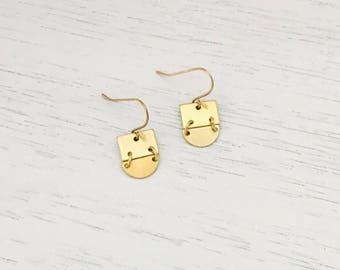 Gold Crescent Geo Earrings