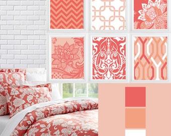 Coral white Geometric patterns chevron damask digital art print -wall decor-Set of  (6)