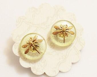 Dragon Fly Stud Earrings, Czech Glass Earrings, Yellow Stud Earrings