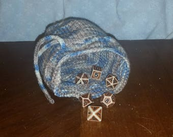 Tan and blue knitted dice pouch(Does not come with dice)