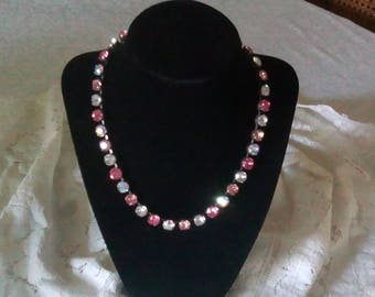Lovely pink and crystal necklace.  Perfect for a wedding or with a tee shirt.