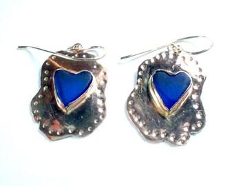 Blue Glass Earrings, Blue Heart Earrings, Silver Gold Heart Earrings, Sea Glass Earrings, Drop Earrings, Boho Jewelry, Boho Chic Earrings