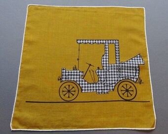 Old Car I - Vintage Cotton Hankie Handkerchief