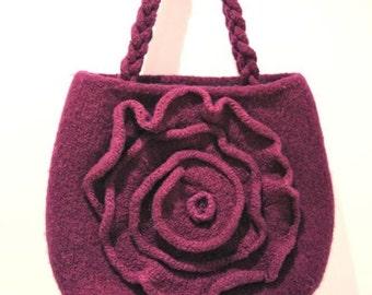 PDF Knitting Pattern for Purple Felted Rose Bag
