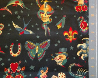 Tattoo black by Alexander Henry Fabrics rockabilly fabric by the yard