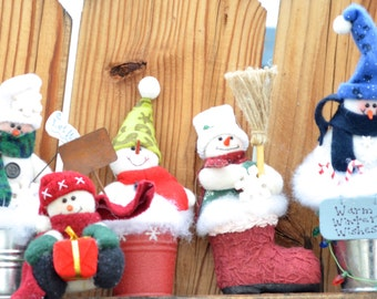 Christmas ornaments - Snowmen - last minute gifts - stocking stuffers - Free Shipping in the Continental United States - Lower 48