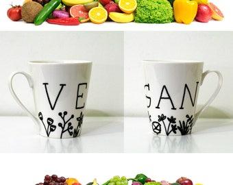 VEGAN MUG coffee cups with vegan sayings, vegan cup, vegan gift, vegan coffee cup, vegan present, vegan art work, vegan life, vegan vibes