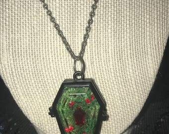 Coffin Pendant with Coffin Gem Necklace