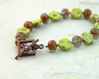 Lime green bracelet, Trending polka dots, Summer fashion, polka dot jewelry, Copper toggle, Jewelry, Gift for her, stacking bracelets