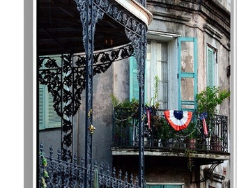 4th of July Balconies Fine Art photograph on canvas French Qurater New Orleans