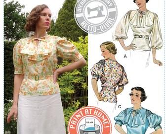 E-PATTERN- Mid 1930's Nanette Blouse Pattern- Wearing History PDF Sewing Pattern Download