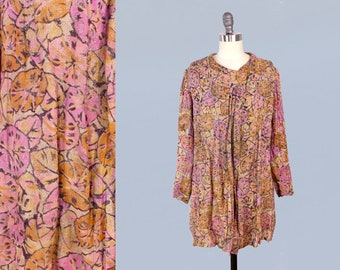 RARE!!  1920s Jacket / 20s 30s Lightweight Metallic LAME Floral / Colorful Pink Lilac Citrus Floral Print!