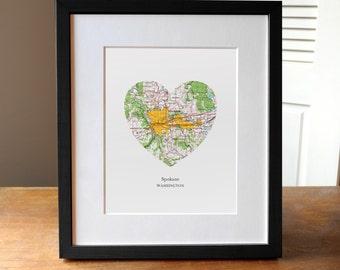 Spokane Washington Heart Map Print, Spokane City Art, Washington Map Print, Custom City Art