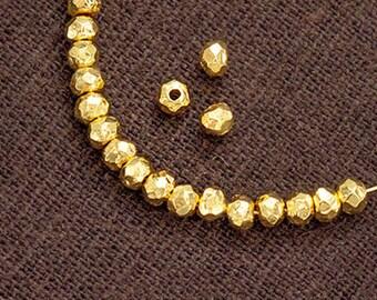 20 of Karen Hill Tribe 24K Gold Vermeil Style Facet Rondelle Beads 3.5x2 mm.  :vm1092