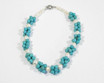 pearl Turquoise necklace 45 cm