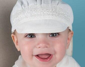 Oliver Linen Hat, Boys Christening Hat, Baptism Cap for Boys
