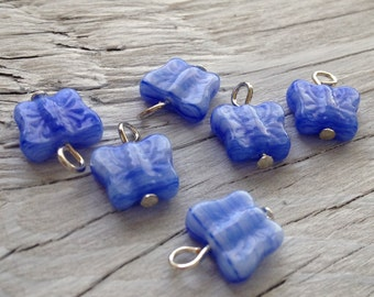 Glass Beaded Butterfly Charms - blue hurricane set of 2