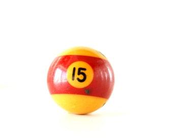 "Vintage Burgundy Striped Number 15 Pool Ball / Billiard Ball, Standard Regulation Size (2-1/4"") - Collectible, Home Decor, Altered Art"