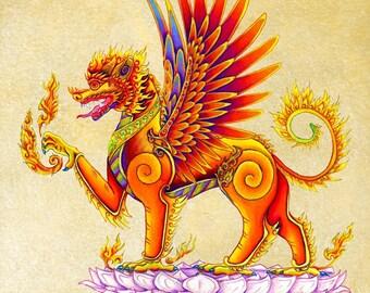Singha Thai Temple Guardian Mythical Winged Lion Colorful Fantasy Creature Giclée Fine Art Print