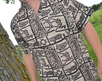 Men's Hand Block Printed Indian Soft Cotton V Neck Casual Shirt - Handmade Tribal Primitive Print - Black on Ivory - Zebulon I879