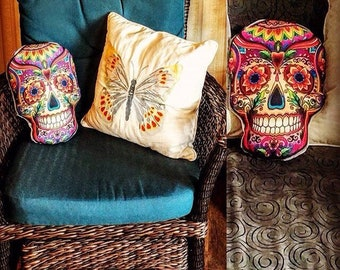 Day of the Dead Skull Pillow