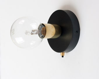 Brass Wall Sconce with 120mm Black wall sconce and button switch | wall light | wall lamp