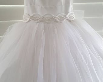 Communion Dress in Satin and Full Tuille Skirt