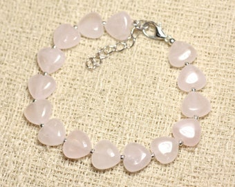 Bracelet 925 sterling silver and stone - hearts 10mm Rose Quartz