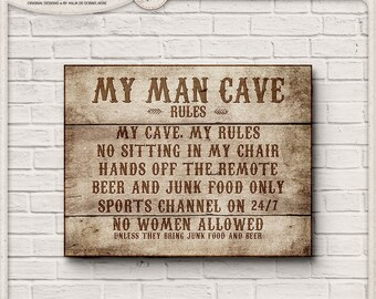 Wooden Signs, Man Cave Decor, Man Cave Sign, Gift For Men, Fathers Day Gift, Birthday Gift, Gifts For Boyfriend, Rustic Decor, Printable