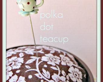 Aqua and Brown Polka Dot Petal Teacup Pin Topper