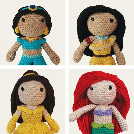 Disney Princess: Jasmine, Pocahontas, Belle & Ariel. Amigurumi Pattern PDF.