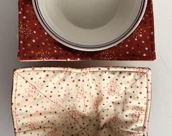 MICROWAVE BOWL COZY Rust & Cream Blender,Bursts, gift, handmade,Hot Cold Bowl Cozie,Fabric Trivet, Hot pad, Pot Holder,Cotton Fabric