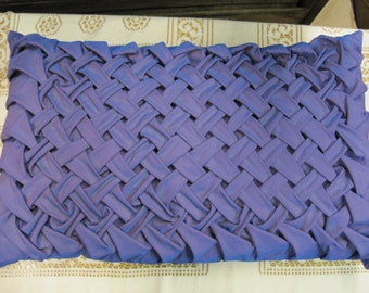 SALE--Vintage Purple irrescent lARGE Rectangle WOVEN SMOCKED Bench or throw Pillow