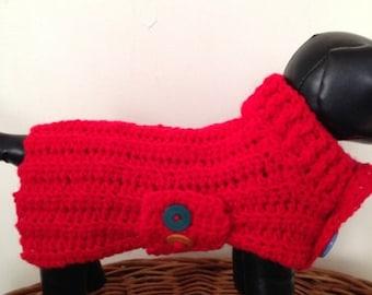Dog Sweater, Dog Sweater Coat, Red Dog Sweater