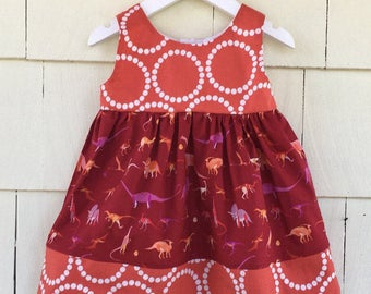 Dinosaur Birthday Dress | Science Dress | Dino Girls Clothing | Natural History | Paleontologist| Stem Nerd | Baby Gift | Toddler Girl